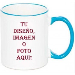 Taza con borde y asa de color