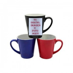 Taza color conica personalizable