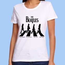 Camiseta blanca mujer THE BEATLES - Abbey Road